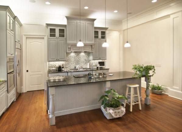 Grey and white cabinets